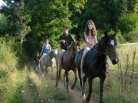 Bain avec les chevaux dans l etang