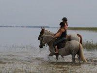 Randonnee equestre en famille dans les Landes