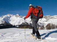 Promenade en raquettes a neige dans les Alpes