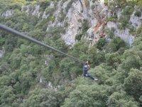 Grande tyrolienne sur la Via Ferrata du Thaurac