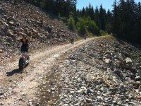 Trotinette tout terrain en sentiers de montagne