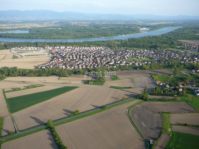 Village Vosgien depuis un helicoptere