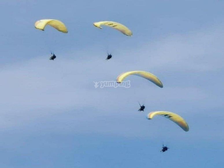 Vol de parapente en groupe