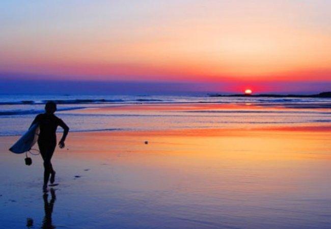 Surf et coucher de soleil